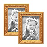Photolini 2er Set Bilderrahmen Antik Gold Nostalgie 15x20 cm Fotorahmen mit Glasscheibe/Kunststoff-Rahmen