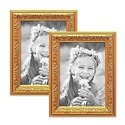 Photolini 2er Set Bilderrahmen Antik Gold Nostalgie 10x15 cm Fotorahmen mit Glasscheibe/Kunststoff-Rahmen