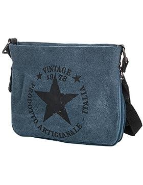 Damen Schultertasche Canvas Umhängetasche klein Tasche mit Stern bedruckt TUCD