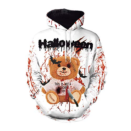 FZTX-LPX Unisex Hoodies Horror 3D Blood Splashing Bär Bedruckter Kapuzenpullover für Paare Halloween Party Performance - Bruder Und Schwester Bär Kostüm