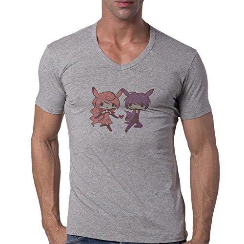 Pokemon Clefairy Fairy Cartoon Pair Herren V-Neck T-Shirt Grau