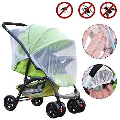 NATUCE Universal-Insektenschutz für Kinderwagen, Moskitonetz für Buggys, Mückennetz für Reisebett und Babyschalen mit Gummizug,Fliegennetz, feinmaschig,Weiß - Cover Mesh Reisebett