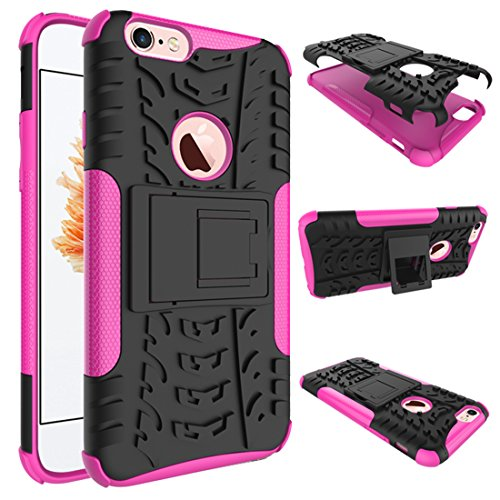 """iPhone 6 Plus Armor Case , VMAE Dual Layer Antiskid Hybrid Rugged Heavy Duty Hard Back Cover Anti Slip With Built-In Kickstand Shock Proof Case for iPhone 6 Plus / iPhone 6S Plus 5.5"""" (Purple) RosePink"""