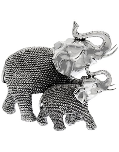 Hogar y Mas-Figura Pareja Elefantes de Resina Plateado