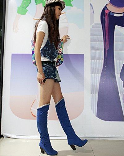 Minetom Femme Automne Hiver Genoux Boots Talon Haut Boucle Bottes Chunky Talon Biker Bottes Bleu