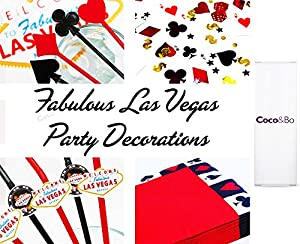 10 x Coco&Bo Fabulous Las Vegas - Red & Black Bendy Straws - Cocktail Party Accessories - Casino Poker Night Card Party / James Bond Theme Decorations