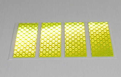 4x Fluoreszierend Gelbe Reflexstreifen 8x2 cm Reflexfolie Reflektorfolie für Mobilitäts- und Gehhilfen, Fahrräder, Helme!