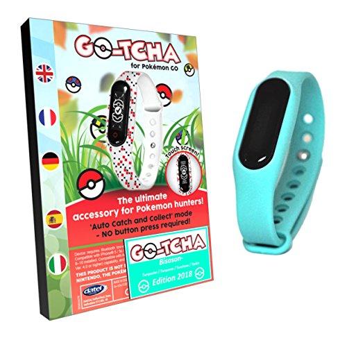 Go-Tcha LED-Touch-Armband Bisasan TÜRKIS Edition Version 2018 für Pokémon Go (Alternative zu Go Plus) (Türkis Leer)