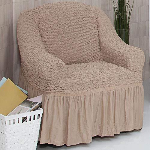 Mixibaby Sofabezug Sofahusse Sesselbezug Sitzbezug Sesselüberwurf Stretchhusse 1 er Sofa, Farbe:Latte