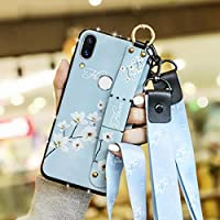 HUANGMENG Plastic Sleeve Fashion Cloth Texture TPU Protective Case with Wristband & Holder & Lanyard For Huawei P30 Pro(White Magnolia Pattern) (Color : White Magnolia Pattern)