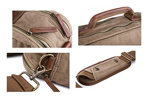 Gootium Leinwand Laptop Schultertasche/Messenger Bag mit Leder Griffe für Männer und Frauen, 40cm, Armee Grün armee-grün