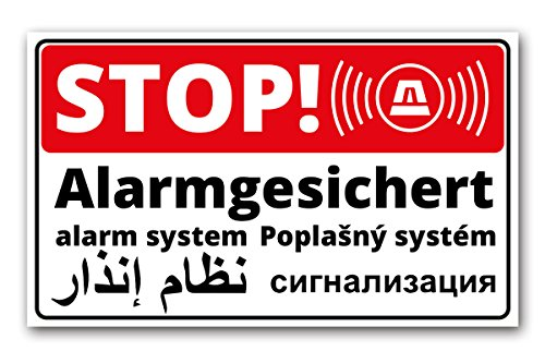 Stop - Alarmgesichert Schild - 5-sprachig | Deutsch | Englisch | Arabisch | Tschechisch | Russisch 25x15 cm