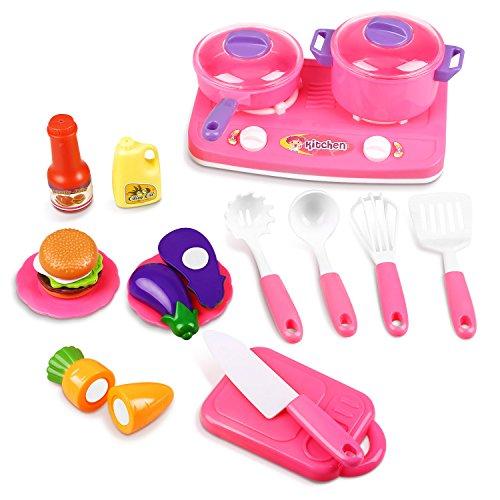 Peradix Küchen Spielzeugset Kinder Rollenspiele (Küchen Set 19PCS) (Spielen Küche Baby)