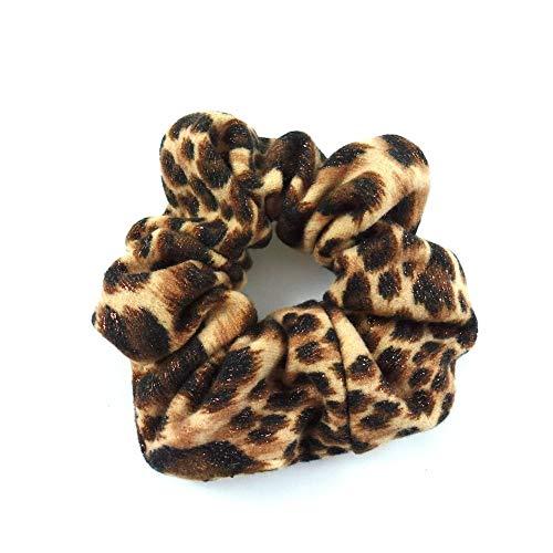 rougecaramel - Chouchou cheveux imprimé léopard pailleté marron