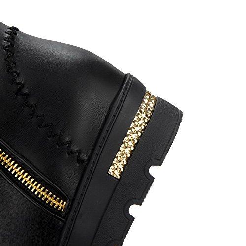 AllhqFashion Damen Mittler Absatz Weiches Material Ziehen Auf Stiefel mit Metallisch Schwarz
