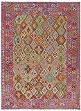 Nain Trading Kelim Afghan 289x210 Orientteppich Teppich Grau/Rosa Handgewebt Afghanistan