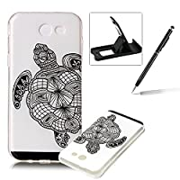 Clear Case for Samsung Galaxy J3 2017,TPU Cover for Samsung Galaxy J3 2017,Herzzer Ultra Slim Soft Gel Creative Colorful Pattern Design Shock-Absorbing Transparent Rubber Silicone Back Skin Protective Case for Samsung Galaxy J3 2017 + 1 x Free Black Cellp