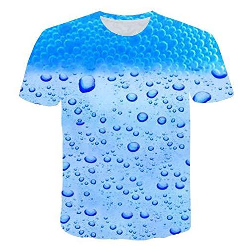 Bedruckte Herren T-Shirts für den Sommer Vintage und Urlaub Lässige Neuheit Cool Travel T-Shirt mit kurzen Ärmeln,3D Wassertropfen Casual Blue 2XL