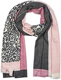 styleBREAKER Châle pour femme avec motif léopard et trois parties colorées,  écharpe d hiver aaa8412537f