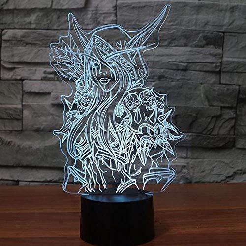 CFLEGEND3D Nachtlicht Anime Mädchen (Touch + Fernbedienung) LED Illusion Tischlampe Flutlicht weiches Licht Statue Kinderzimmer Schlaf Licht dekorative Lichter Party Lichter Folie 7 Farbe USB