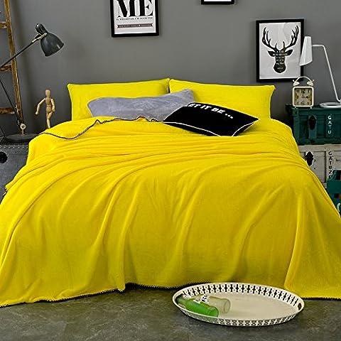 CLG-FLY Tappeto composto di ispessimento coperta coperta in pile tappeto bambino autunno/inverno di napping coperte ,Giallo limone,150 * 200