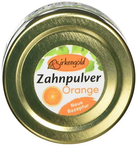 Birkengold Zahnpulver Orange 30 g Glas | plastikfrei | Im Glastiegel Verpackt | 100{3b3f8a02efdd19fa9ac6d309c5a68bb9074ffeb4cd8621c57d99431ae0a121f7} Natürliche Zutaten | Keine Schaumbildner Und Konservierungsstoffe | Naturkosmetik Zertifiziert | Vegan