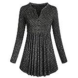 ZIYOU Damen Langarm Shirt Basics Plissee Pullover Tunika Frauen Elegante Rundhals Sweatshirt Casual Oberteile Bluse Tee Tops(EU-40 / CN-XL,Dunkelgrau)