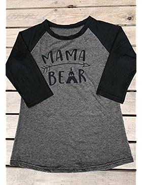 Vin beauty Abbigliamento elegante alla moda delle donne Tessa lettera stampata splicing Mama Bear manica lunga...