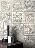 NEWROOM Tapete Grau Struktur Ethno Papiertapete Blau Papier moderne Design Optik Afrika inkl. Tapezier Ratgeber
