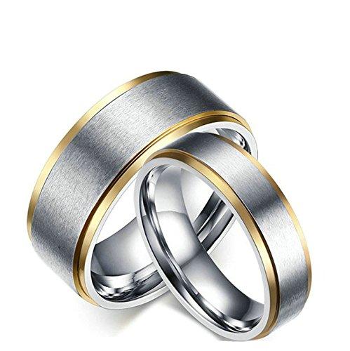 Jiedeng Schmuck Damen Ringe aus Edelstahl Ring Einfacher Stil Freundschaftsringe Partnerringe Ehering Trauringe für Damen-Ring Gold Silber (mit Geschenk Tüte) Größe 49 (15.6)