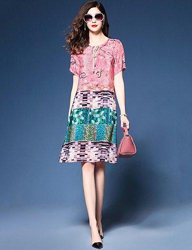 RENQINGLIN Kleid Frauen Partei Ausgehen Plus Size Vintage Casual Lose Chiffon Kleid, Print Color Block Runden Ausschnitt Knielangen Kurze Ärmel Polyester, Rot Pink, L (Chiffon Knielangen Kleid)