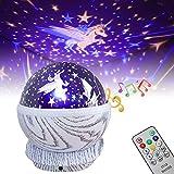 EXTSUD Musique Projecteur Lampe Enfant 360°Rotation Veilleuse Musicale Projecteur d'Étoiles Licorne avec 8 Musiques, 9 couleurs, Télécommande Cadeau d'Anniversaire Noël Halloween pour Bébés