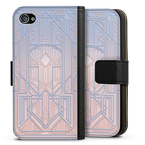 Apple iPhone X Silikon Hülle Case Schutzhülle Pastell Frühling Abstrakt Sideflip Tasche schwarz
