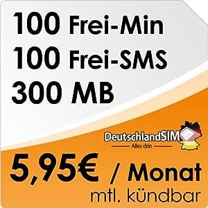 DeutschlandSIM SMART 100 [SIM und Micro-SIM] monatlich kündbar (300MB Daten-Flat, 100 Frei-Minuten, 100 Frei-SMS, 5,95 Euro/Monat, 15ct Folgeminutenpreis) O2-Netz ***Nur noch bis zum 20.04.2014 verfügbar***