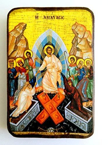 """Ikone A0 """"Wiederauferstehung"""" aus Holz, griechisch-orthodox"""