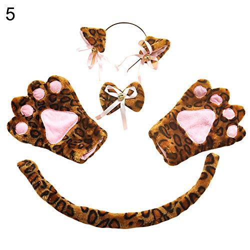 5Pcs Party Anime Costume Kitten Cat Ear Bow Tail Glove Cosplay Role Play Set