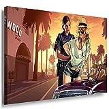 GTA V Cops Leinwandbild / LaraArt Bilder / Leinwand Bild + Mehrfarbig + Kunstdruck XXL g20-5 Wandbild 100 x 70 cm