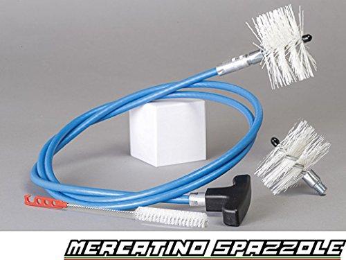 3 m Pelletofen-Reinigungsset - 2 Nylonrundbürsten 80mm und 100mm - Reinigung Pelletofen Rohr Ofenrohr