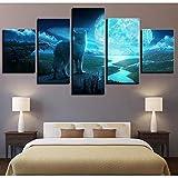 zhangfuhe Kunstwerk HD Drucke Leinwand Malerei Dekoration 5 Stücke Tier Wolf Wandkunst Modulare Für Nacht Hintergrund Bilder Poster