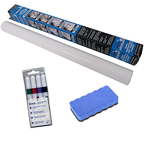 magic-white-board-wipeboard-with-4-dry-wipe-coloured-markers-and-duster-set