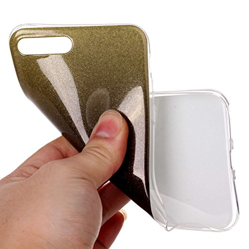 iPhone 7 Plus Hülle Weiches Silikon Glitzer Schutzhülle Tasche Case,Hochwertig Leicht Gummi Schutz Hoch Handyhüllen Schale Etui,Herzzer Modisch Luxus Silikon Bunt Hülle [Farbverlauf Gradient Farbe] Re Schwarz