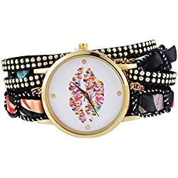 Souarts Womens Black Braided Multilayer Band Lip Pattern Dial Quartz Analog Wrist Watch 39cm