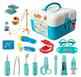 ThinkMax Doctors Kit, 20 Stück Medical Play Set Zahnarzt Spielzeug für Kinder (20 Stück blau)