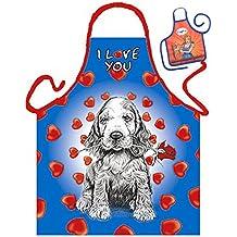 Hund Dog Chien Cane I Love You - Fun Motiv Schürze - mit kleiner Mini-Schürze als Präsent