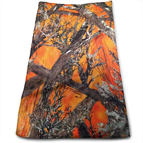 ERCGY Realtree Camo Orange Towels Multi-Purpose Microfiber Soft Fast Drying Travel Gym Home Hotel Office Washcloths -