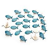 Deko-SET: 24 Teile in blau weiß: 12 kleine Deko-KLAMMERN FISCH 5 cm + 12 Fische 5,5 cm als maritime Dekoration … Zier-Klammern Holz-Klammern Mini-Klammern Mini-Wäscheklammern