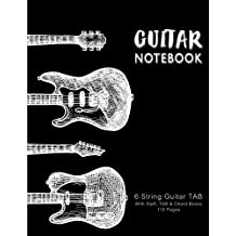Guitar Notebook: Guitars in Vintage, Music Paper, Blank Manuscript Pages, 6 String Guitar TAB, With Staff, TAB and Chord Boxes, 8.5 x 11 inch 110 pages