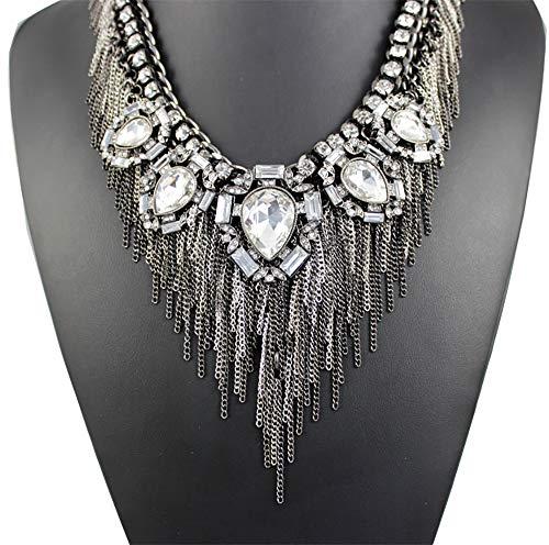 Blingbling_M Fransen Halskette Frauen Elegante Exquisite Charme Kragen Schmuck Glasmalerei Kristall Cluster Chunky Halskette Frauen Halskette -