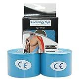 STpro Bandes de kinésiologie Elastique Sport Tape 5cm x 5m,Bleu,2 Rouleaux