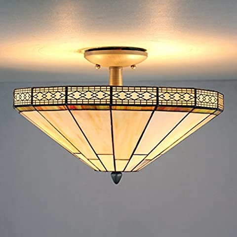 16-Inch European Retro Elegant Tiffany Stained Glass Flush Mount Ceiling